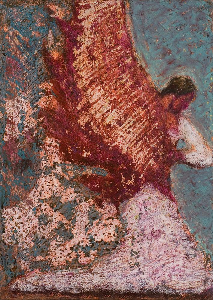 Tánctöredék - 2008 olajpasztell, ecoline, papír, 41x29 cm