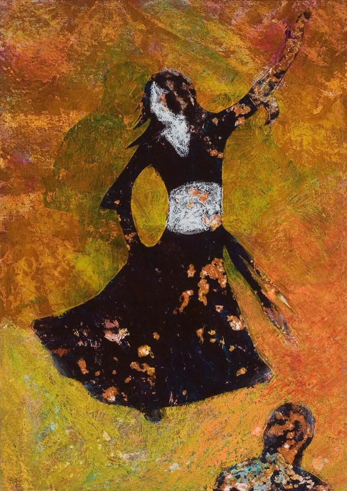 Boszorkánytánc - 2008 olajpasztell, ecoline, papír, 41×29 cm