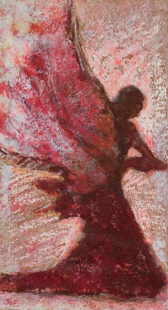 Angyal - 2008 olajpasztell, ecoline, papír, 41×29 cm