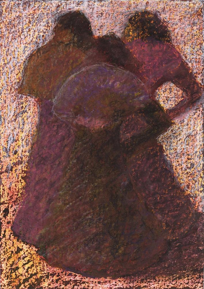 Három Grácia - 2005 olajpasztell, ecoline, papír, 41×29 cm