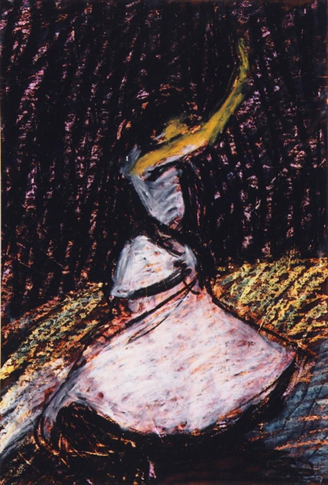 Alvilágban - 2005 olajpasztell, ecoline, papír, 29×- 20 cm