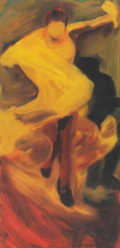 Indulat - 2002 olaj, vászon, 152x73 cm