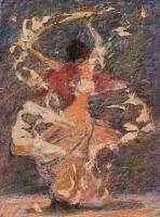 Forgásban IV. - 2008 olajpasztell, ecoline, papír, 41×29 cm