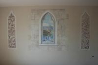 Három részből álló freskó - 2014 középső rész festett kváderkövekkel együtt: 150×150 cm