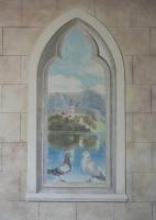 Kilátás egy gótikus ablakból 2014 freskó 150×80 cm