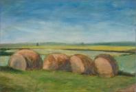 Szalmabálák - 2008 olaj, vászon, 30x45 cm