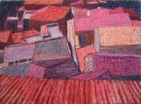 Bova háztetők II. - 2006 olajpasztell, ecoline, papír, 29x40 cm