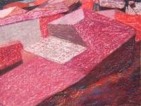 Bova háztetők V. - 2006 olajpasztell, ecoline, papír, 29x42 cm