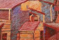 Norvég házak - 2006 olajpasztell, ecoline, papír, 29x42 cm