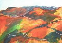 Calabriai hegyláncok I. - 2006 olajpasztell, ecoline, papír, 29x42 cm