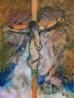 Nő a kereszten -  2013 olaj, karton, 64×48 cm