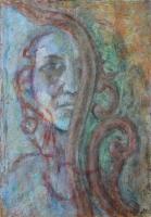 Én és egy barokk tükör kapcsolata - 2013 olajpasztell papír, 50×35 cm