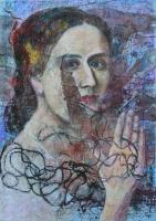 Valéria grófnő arca (restaurálás) - 2013 olajpasztell, papír, 50×35 cm