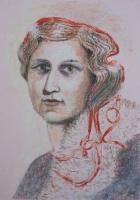 Önarckép grófnőként - 2013 olajpasztell, papír, 50×35 cm