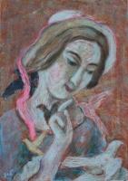 A porcelán lány öröme - 2013 olajpasztell, papír, 41×29 cm