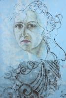 Önarckép porcelán fejjel - 2013 olajpasztell, papír, 50×33 cm