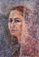A festőnő menyasszony - 2009 olajpasztell, ecoline, papír, 41x28 cm