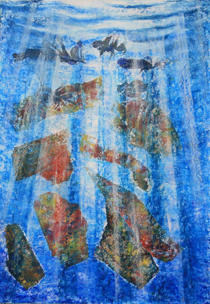 Süllyedő emlékek IV.  - 2013 vegyes technika, papír, 47×33 cm