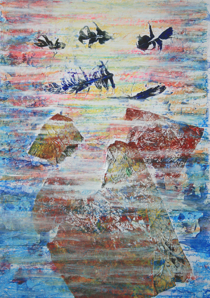 Süllyedő emlékek VII. 2013 vegyes technika, papír, 47×34 cm