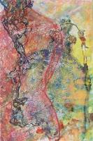 A lány és a sírkő - 2013 vegyes technika, papír, 47×31 cmk