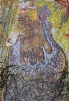 Családi sírkő II. - 2013 vegyes technika, papír, 29×42 cm